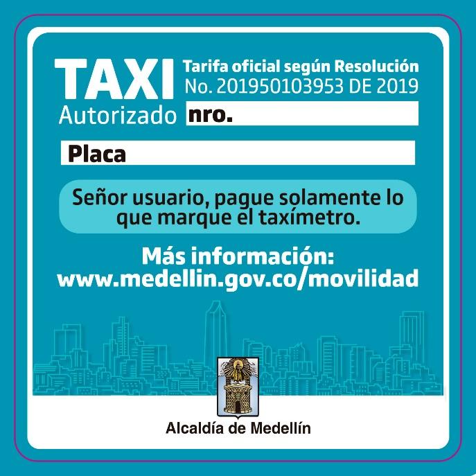 Desde el 9 de diciembre se podrá realizar el cambio de tarifa de taxis en Medellín